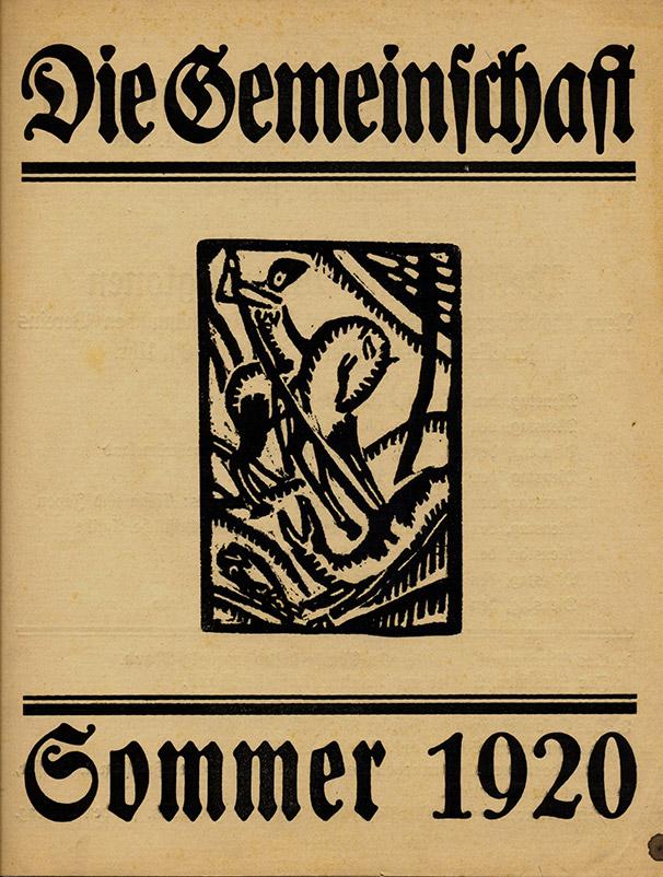 Titelblatt Die Gemeinschaft, Sommer1920