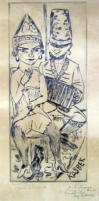 Max Beckmann: Kasbek, Radierung, Probedruck mit Widmung an Wilhelm Fraenger, 1923